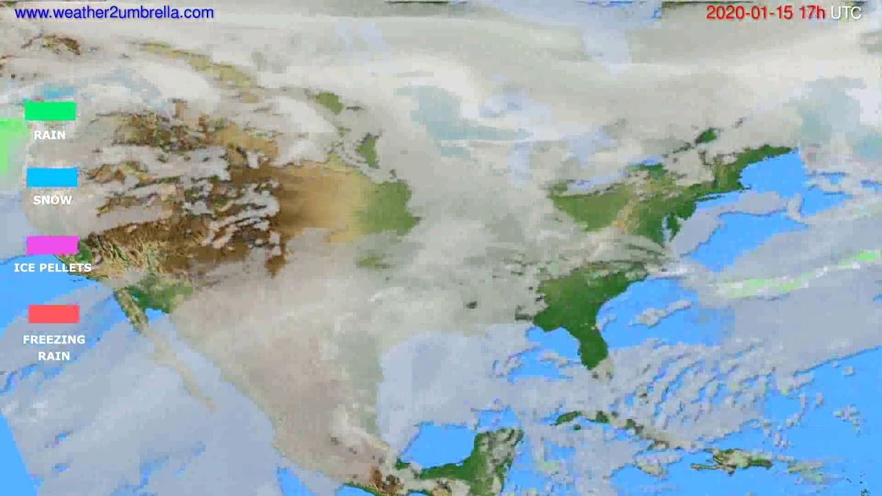 Precipitation forecast USA & Canada // modelrun: 12h UTC 2020-01-14