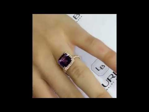 Lauren B Gem Collection: 4.30 ct Step Cut Amethyst Ring in Rose Gold