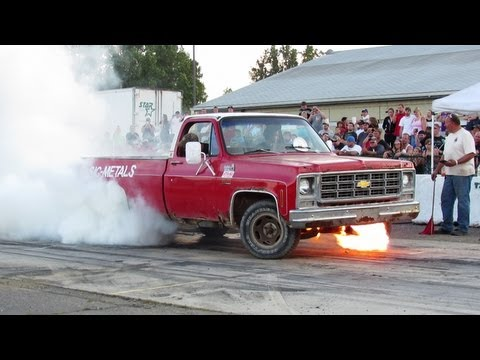 Chevy catches fire during burnout competition