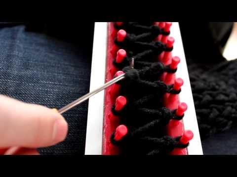Schal mit Strickrahmen stricken Teil 05/11: Position des Knoten erste Reihe