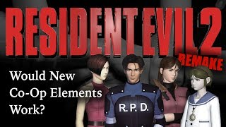 Could Co-Op Elements Make It Into RE2 Remake?Discussing Ideas That Will Probably Not HappenSubscribe: https://goo.gl/HAvfDUWhenever Capcom is going to release a new Resident Evil game, even if it a remake of a classic, you always have to at least look at the different options when it comes to co-op play. Resident Evil 2 the original game has parts of the game that are linear co-op, where characters work together to solve different portions of the game. Claire Redfield switches control with Sherry Birkin, and Leon Kennedy switches control with Ada Wong. So what would happen if in the RE2 Remake the developers decided to increase some of the co-op, and possibly add different mini-gameplay styles matching either Resident Evil 6 or Resident Evil 0? Let's hope nothing of the sort happens, but we have to ask: Are More Changes Coming?RESIDENT EVIL 2 REMAKECHANGES: New Camera Angles ► https://goo.gl/VsPMN7CHANGES: New Game Engine ► https://goo.gl/rECNKFCHANGES: New Character Models ► https://goo.gl/LCgPPZCHANGES: New Voice Actors ► https://goo.gl/VoiSPtSummary Of What We Know ► https://goo.gl/JNUyWYWhy Wasn't RE2 Remake At E3? ►  https://goo.gl/xd1yN4WHERESBARRY ON SOCIAL MEDIATwitter ► http://www.twitter.com/wheresbarryBFacebook ► http://goo.gl/nHTBQ9Instagram ►https://www.instagram.com/wheresbarrybMUSICI Knew a Guy by Kevin MacLeod is licensed under a Creative Commons Attribution license (https://creativecommons.org/licenses/by/4.0/)Source: http://incompetech.com/music/royalty-free/index.html?isrc=USUAN1100199Artist: http://incompetech.com/