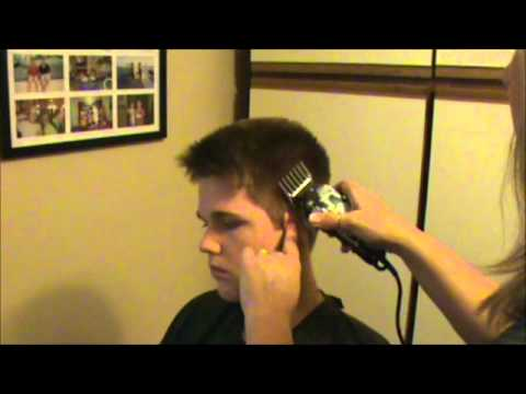 Haircut - Step by step, easy to follow directions. How to do a men's or boy's fade hair cut with clippers. Supplies: Clippers, Edgers, Scissors, Cape, Water Bottle, Ti...