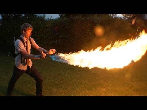 Crazy inventor Colin Furze Creates wrist flamethrowers shooting 12ft flames from your