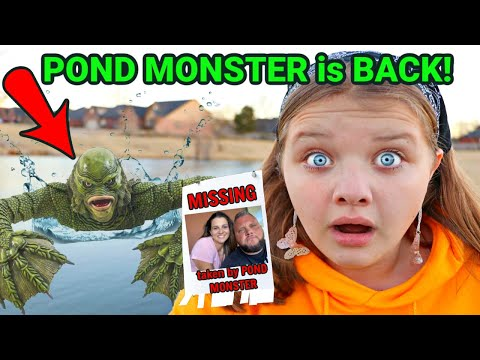 POND MONSTER is BACK and TOOK OUR DAD! AUBREY and CALEB SEARCH for THE POND MONSTER SECRET HIDEOUT!