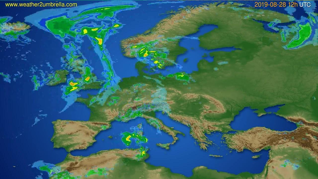 Radar forecast Europe // modelrun: 00h UTC 2019-08-28