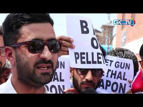 Pellet victims protest in Srinagar to demand ban on pellet shotguns