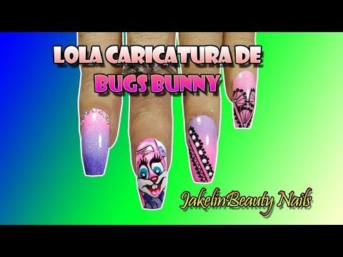 Decoracion de uñas - DECORACIÓN DE CARICATURA BUGS BUNNY CONEJITA LOLA PASO A PASO