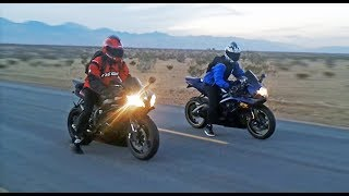 7. Suzuki GSXR 600 vs Yamaha R6  - Onboard, exhaust sounds, top speed  & more...
