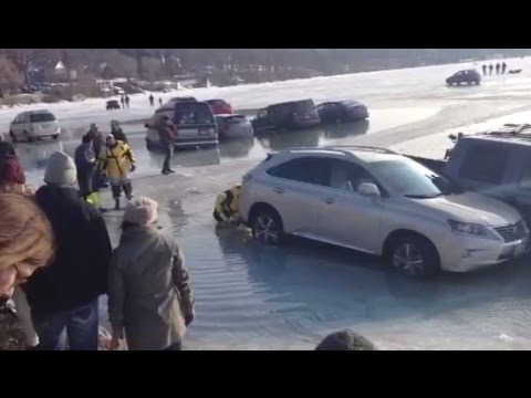 Breaking News: 20 Cars Sinking in Lake Geneva after accidentally parking on ICE at WIsconsin's Winterfest.