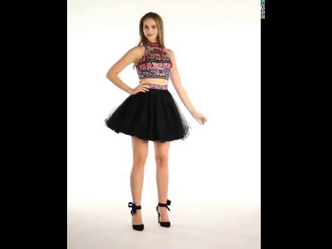 Shop MarlasFashions.com for Black Two-Piece Floral Beaded Halter Dress
