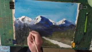 How to paint snow capped mountains