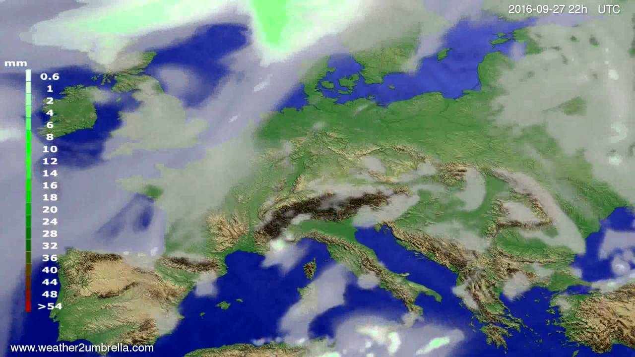 Precipitation forecast Europe 2016-09-25