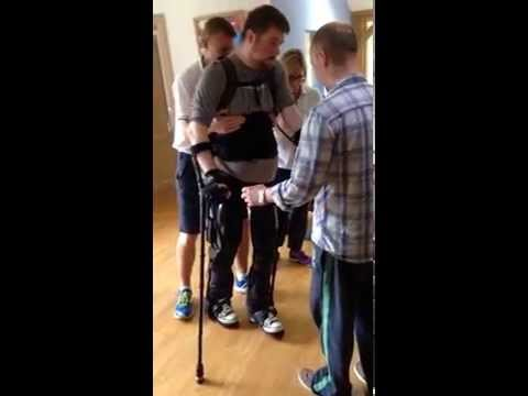 My friend taking his first steps after 11 years in a wheel chair thanks to a cool exo skeleton. Yeah!