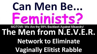 The question keeps coming up: can men be feminists? Isn't that like asking if men can be stupid? Article: Can Men Be Feminists? http://www.backlash.com/conte...
