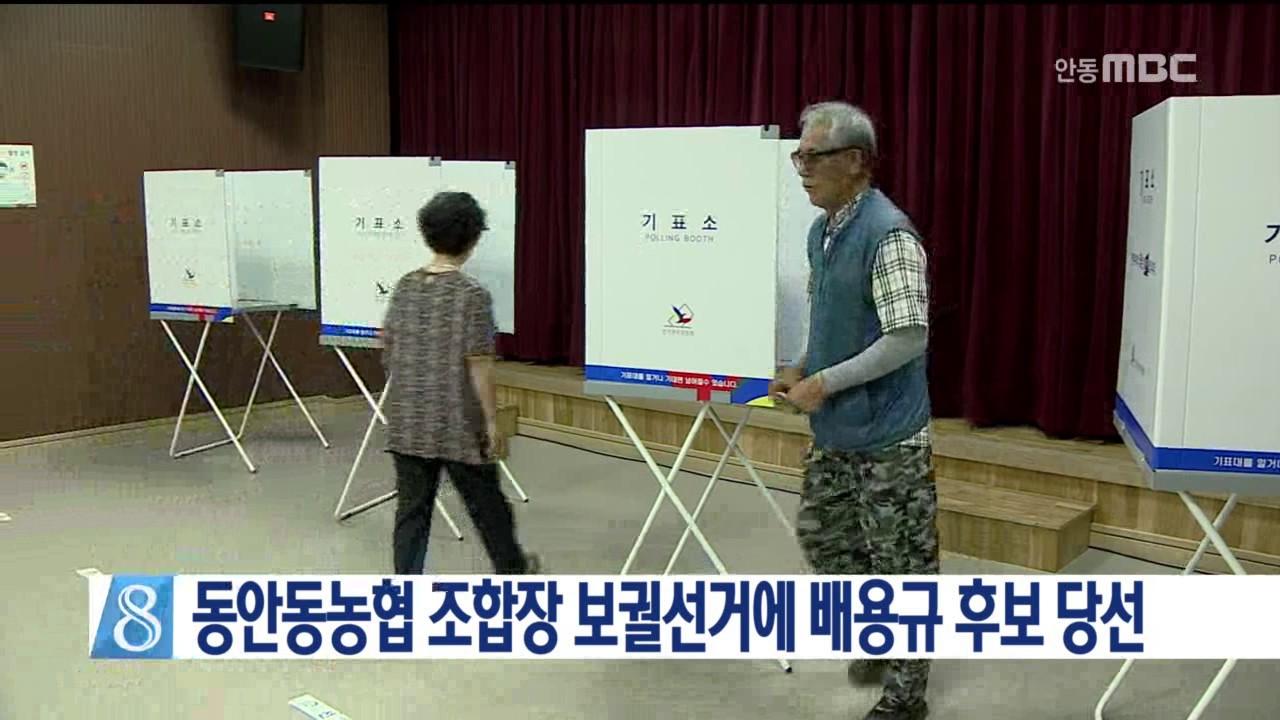 동안동농협 조합장 보궐선거에 배용규 후보 당선