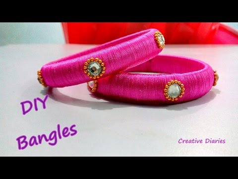 Video Silk Thread bangle making I DIY bangles I Creative Diaries download in MP3, 3GP, MP4, WEBM, AVI, FLV January 2017