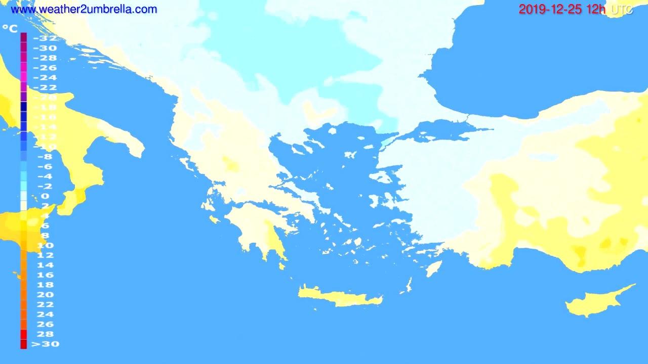 Temperature forecast Greece // modelrun: 12h UTC 2019-12-24
