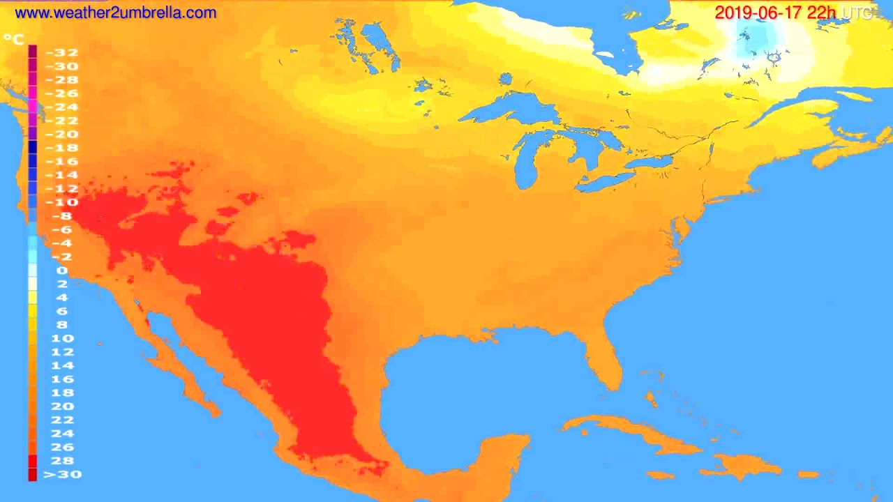Temperature forecast USA & Canada // modelrun: 12h UTC 2019-06-15