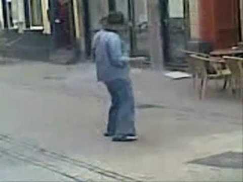 Crazy old man dancing