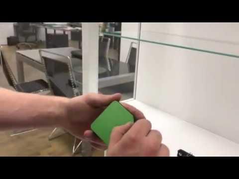 Solo installation on a showcase glass vitrine