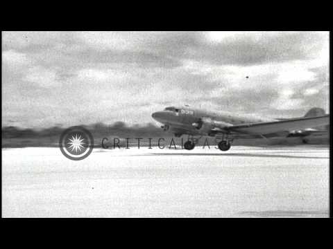 U.S. Army Air Forces C-47 transport aircraft operating from Biak Island, New Guin...HD Stock Footage