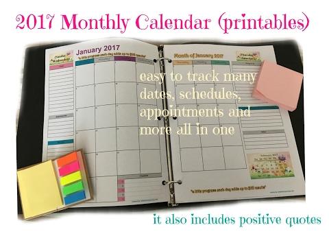 2017 monthly calendar planner free printable