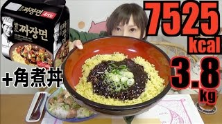 【MUKBANG】 Korean Instant Paldo Chajang Noodles + 5 Bowls Of Kakuni Don, 3.8kg 7525kcal[CC Available]