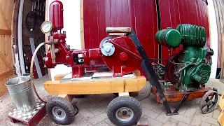 In this video I'm just getting the pump ready for its first public display.  Before I owned it, it was used as a pressure washer and not a vintage exhibit.  It weighs almost 6 tons and dwarfs the wolseley engine.