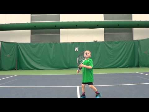 Max (6 years old) practices tennis