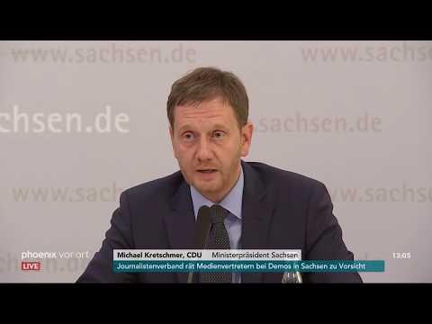 Pressekonferenz des sächsischen Landeskabinetts zu de ...
