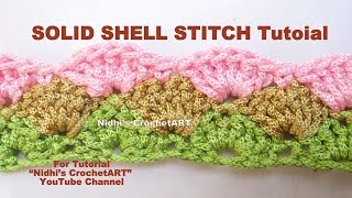 How to Crochet- SOLID SHELL Stitch Tutorial Step by Step for Beginners