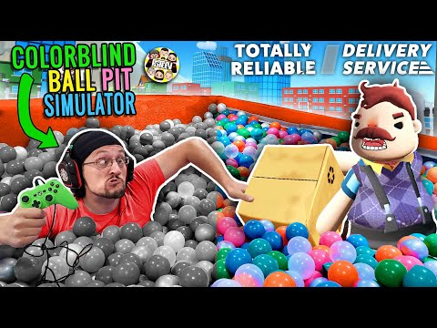 DON39T TOUCH THE GREEN!  COLOR BLIND BALL PIT GAME  HELLO NEIGHBOR TOTALLY RELIABLE DELIVERY SERVICE