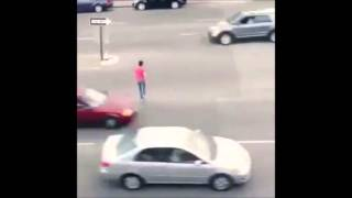 Breathtaking Road Crossing - This Guy is Crazy