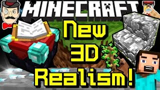 Minecraft NEW 3D REALISM Blocks! Shining Ores, Added Depth, Debris&Toasters!