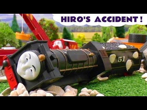 Thomas The Tank Peppa Pig Play Doh Story Hiro's Accident Crash Thomas Tank Playdough Grandad Dog