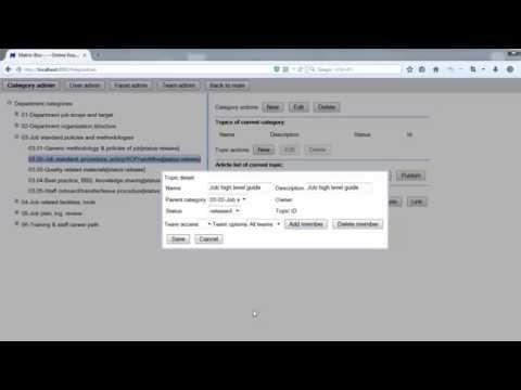 Setup topics (Matrix-Box, Online enterprise knowledge management system)