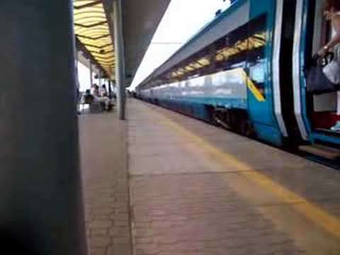 A Czech Pendolino arrives and departs Ostrava Svinov