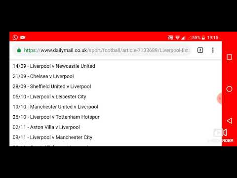 Liverpool FC Premier League Fixtures For 2019/2020 Season