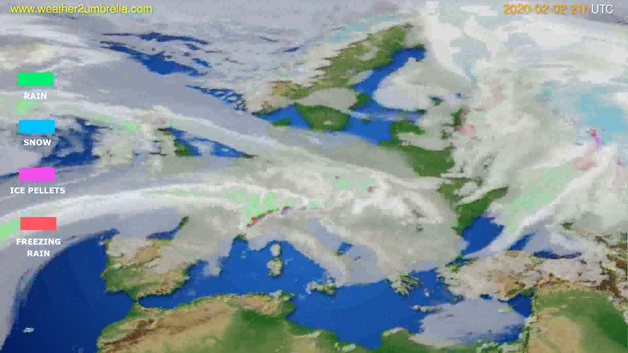 Precipitation forecast Europe // modelrun: 12h UTC 2020-02-01
