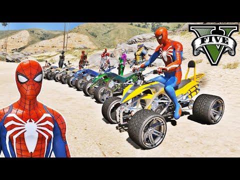 CARROS Street Blazer com Homem Aranha e Heróis! Desafio Parkour na Rampa - GTA V Mods - IR GAMES