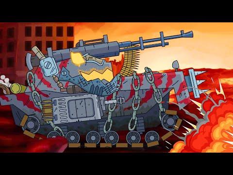 El tanque monstruo está furioso. Mundo de tanques animados.Dibujos animados de tanques. รถถัง
