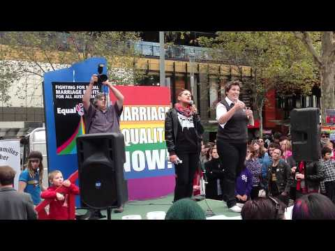 Equal Love Equal Rights - One of the key organisers to the Victorian equal love, equal rights rally, Ali Hogg delivers a speech to the May 12 participants at the Melbourne rally refle...