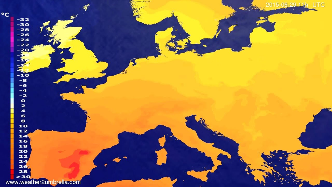 Temperature forecast Europe 2015-06-25