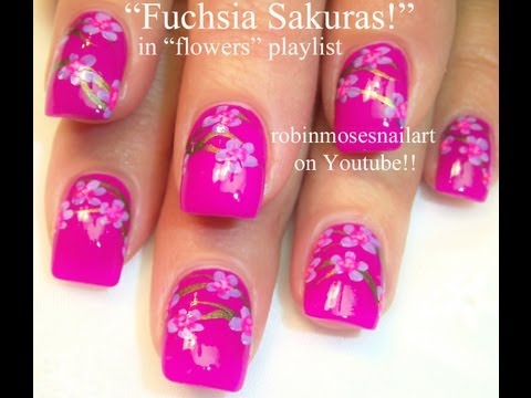 Fuchsia Sakura Cherry Blossom dream Nail Art