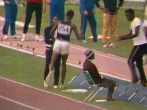 Bob Beamon jumps out of the pit
