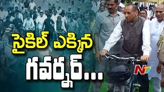 Minister KTR and Governor Narasimhan Metro Cycle Ride In Hyderabad