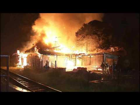 Greenlane Railway Station fully ablaze