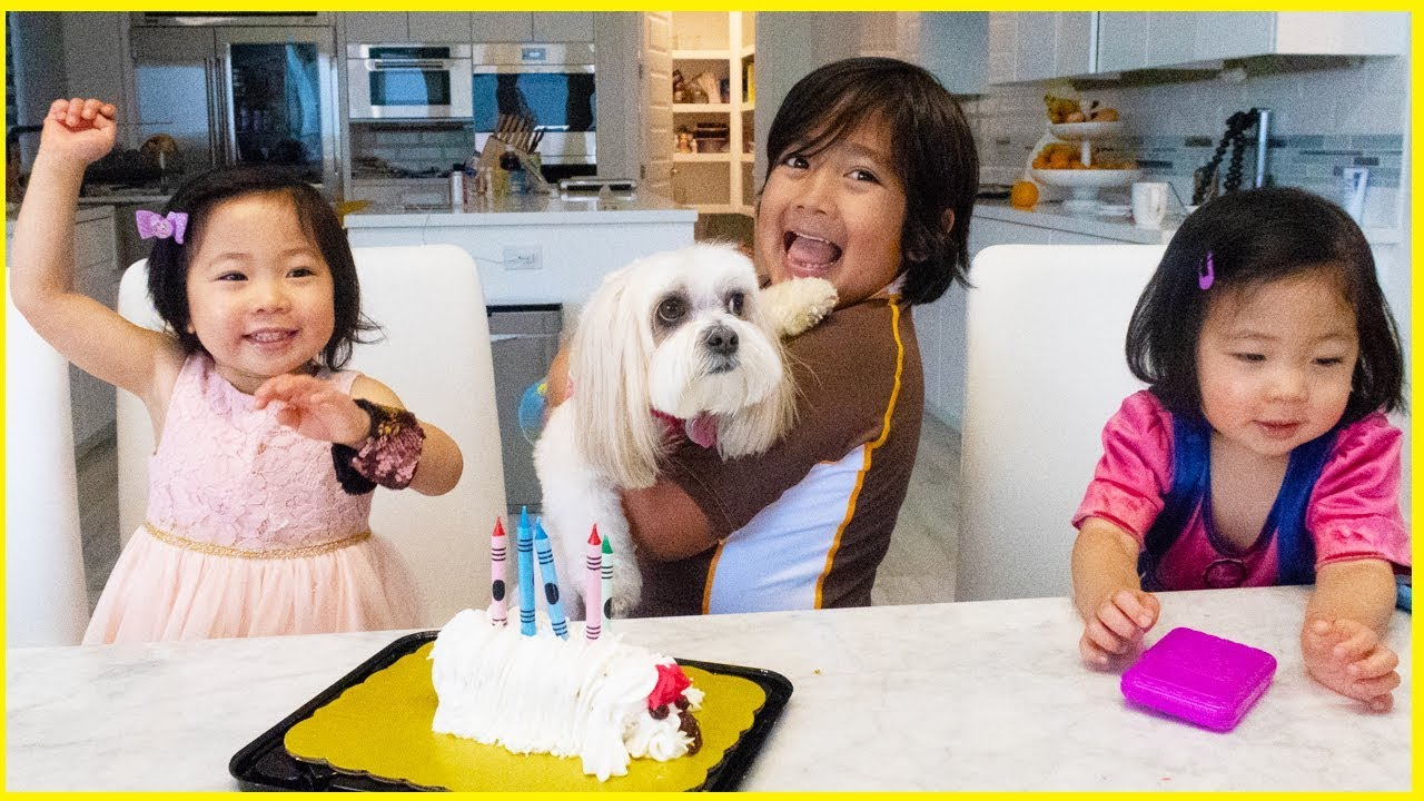 Surprise Dog Birthday Ella with Ryan's Family Review!!! - YouTube