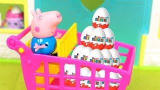 ❤ PEPPA PIG ❤ George se lleva un montón de huevos kinder | Vídeos de juguetes español