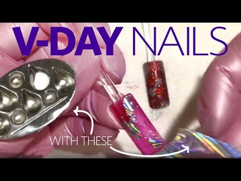 Nail designs - 3 Easy Valentine's Day Nail Art Designs (Dotting Tool, Stamping, Foils)
